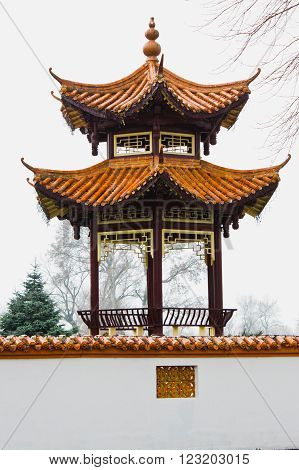 Austria Vienna 10 March 2016: The Chinese restaurant in the city center. Exterior Asian cuisine restaurant with pagoda.