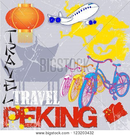 set for design travel to Peking. Vector illustration