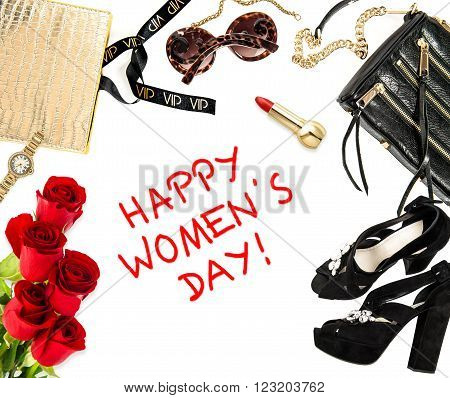 Fashion mock up with business lady accessories and red roses. Shopping concept. Happy Womens Day!