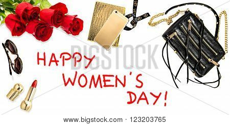 Fashion background with accessories cosmetics flowers. Feminine website hero header. Happy Womens Day!