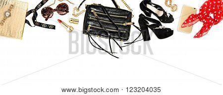 Hero header. Fashion accessories cosmetics bag shoes. Feminine website