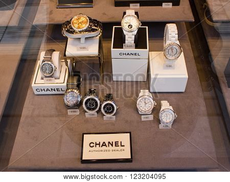 Vienna, Austria, 22 March 2016: Chanel Watch In Shop Window Display.