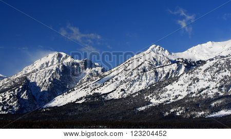 Grand Tetons Mountain Range Peaks on a sunny morning in Grand Teton National Park in Wyoming USA