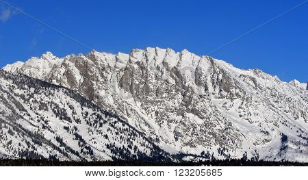 Mount Saint John in the Grand Tetons Mountain Range in Grand Tetons National Park in Wyoming USA