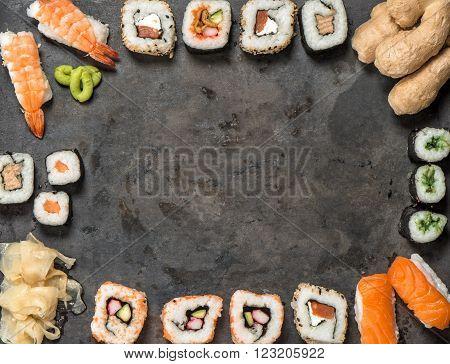 Traditional japanese food. Sushi rolls nigiri maki sushi