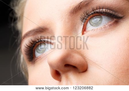 Female eye with long eyelashes