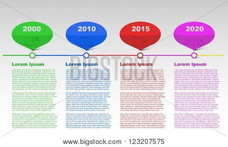 Row timeline infographic with years, infographics, text infographic, colored infographic, modern technology timeline, outline icons