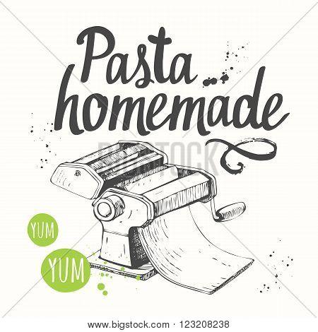 Italian homemade traditional pasta machine on white background.