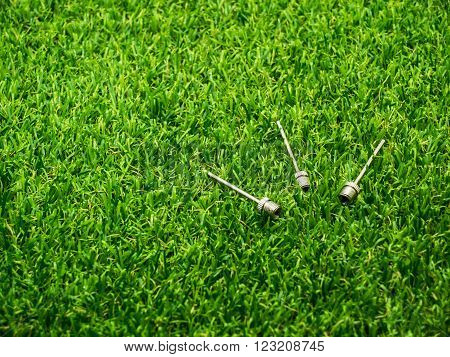 Metal inflation needle for inflatables and athletic balls on the grass
