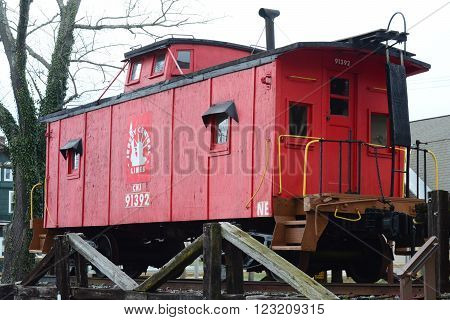 RICHLAND, NEW JERSEY  MARCH  21, 2016  A wooden train caboose that has been out of service and put  on display.