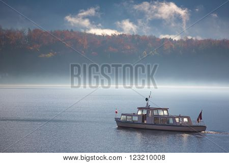 Boat in The Lake with Fog - Hallstatt, Austria ** Note: Visible grain at 100%, best at smaller sizes