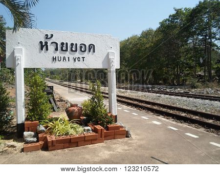 Rural railway station in the south of Thailand's Huai Yot.
