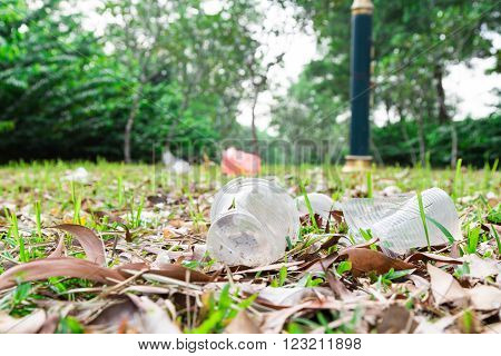 Environmental unfriendly non biodegradable pvc litter in public park present ecology issue