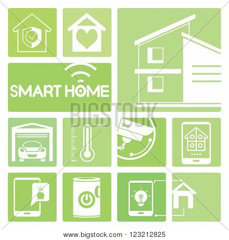 smart home device icons in green; thermometer, cctv, garage