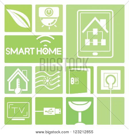 smart home device icons in green; cctv, thermostat, smart tv