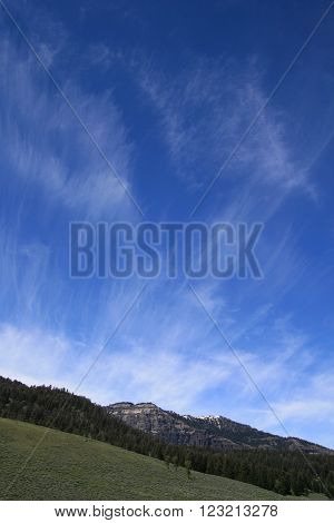 Combed Cirrus Clouds above the Lamar Valley of Yellowstone National Park in Wyoming USA