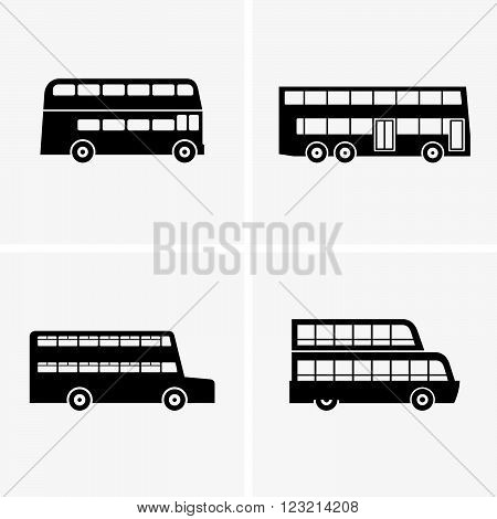 Set of four double decker buses, shade pictures