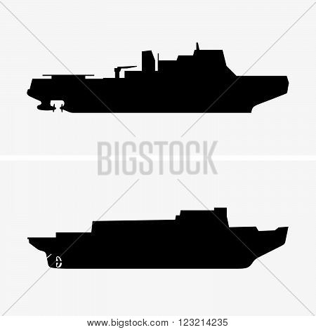 Set of two icebreakers in profile, shade pictures