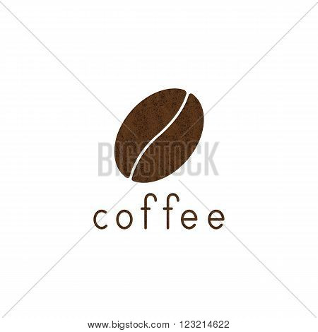 Shabby brown colored coffee bean and lettering coffee isolated on white background. Logo template design element menu decoration