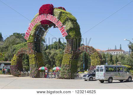 DALAT, VIETNAM - DECEMBER 21, 2015: The entrance to Dalat flower gardens. The historic landmark of the city of Dalat