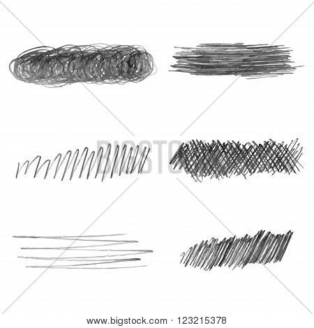 Set of hand drawn pencil strokes. vector doodle illustration