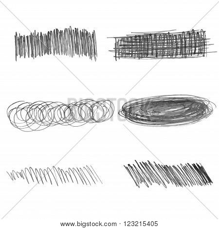 Set of doodle pencil strokes. vector hand drawn illustration