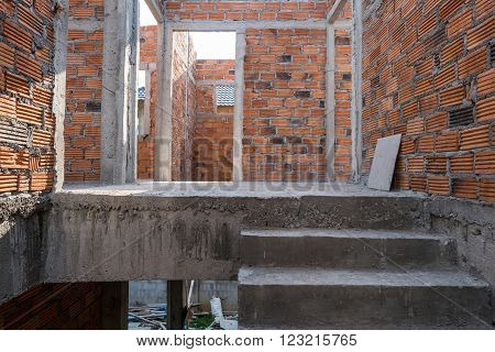 Staircase Cement Concrete Structure And Brick Wall In Residential House Building Of Construction Sit