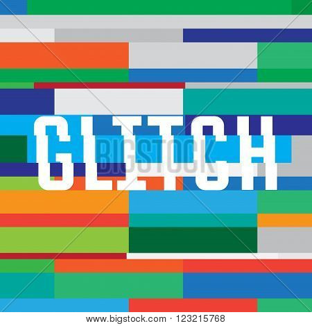 Vector glitch background with inscription. glitch pattern