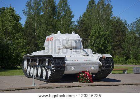 LENINGRAD REGION, RUSSIA - JUNE 08, 2015: Tank KV-1