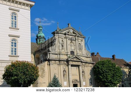 A street in the Old Town of Lviv Ukraine. Bernardine Church and Monastery