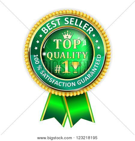 Best Seller. 100 % Satisfaction Guaranteed. Top Quality - golden green ribbon. Award for excellence.