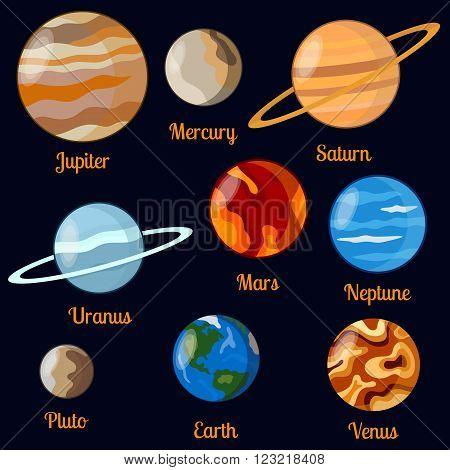 Solar system planets - earth, saturn, jupiter, mars, venus, mercuty, pluto, uranus.