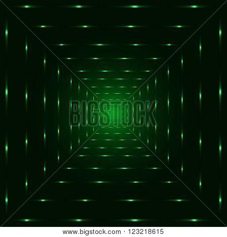 Green neon laser perspective tunnel, dark background