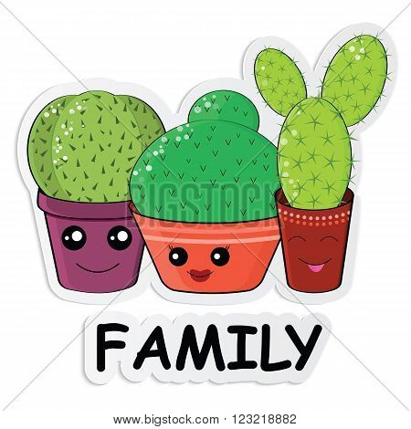 Hilarious Family Of Cacti On A White Background
