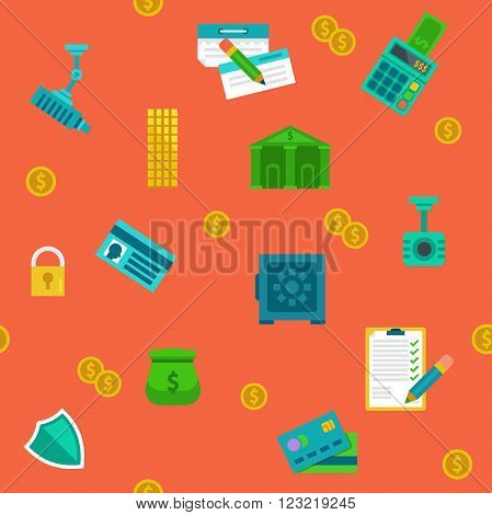 Endless colored cartoon flat money protection and banking background.