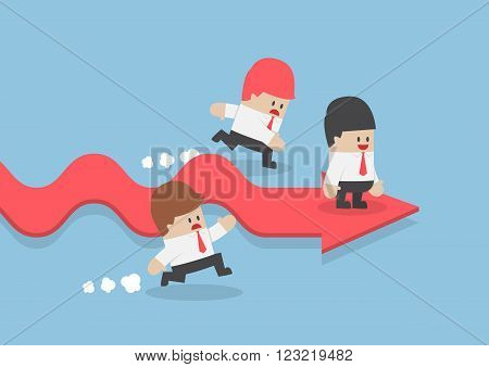 Businessman Go Faster Than His Rival While Standing On Success Arrow