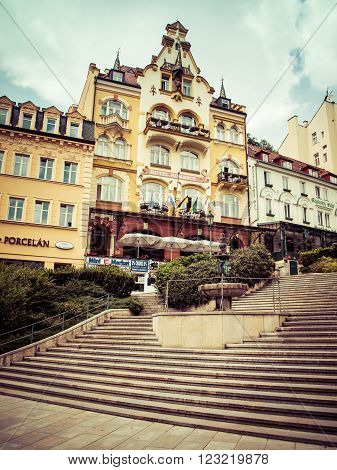 KARLOVY VARY, CZECH REPUBLIC - May,15,2015: street view in Karlovy Vary hotels in Karlovy Vary Carlsbad Czech Republic Europe