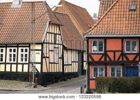 Half-timbered houses in Middelfart City,  Funen, Denmark