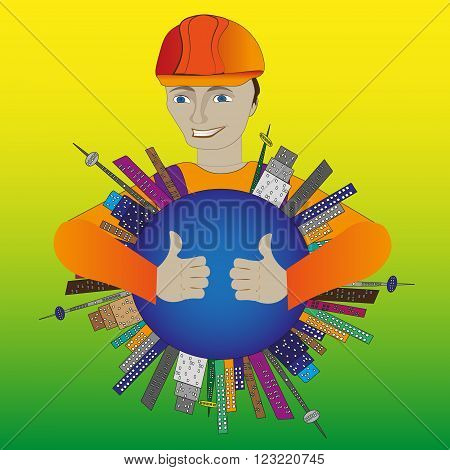 Illustration of a builder in a helmet