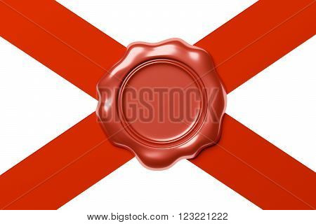 Red sealing wax seal stamp without sign on red ribbon diagonal cross isolated on white background, 3d illustration