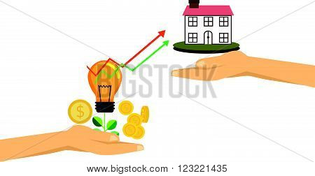 putting dollar coin into a house bank. Saving money for real estate investing. Investment concept.