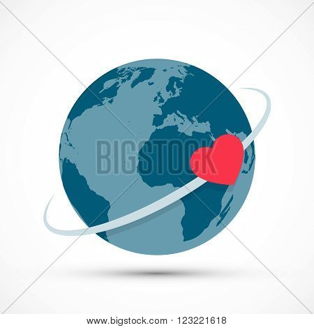 Heart revolves around the earth. Concept illustration World Health day