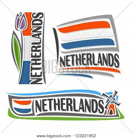 Vector illustration of the logo for Netherlands, consisting of 3 isolated illustrations:vertical flag image with purple tulip, horizontal symbol of Netherlands and the flag on background of windmill