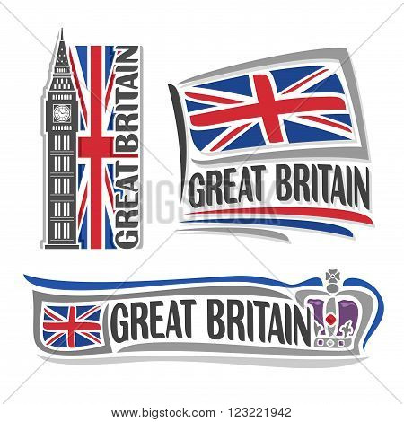 Vector illustration logo for Great Britain, consisting of 3 isolated illustrations: vertical flag image with Big Ben, horizontal symbol of United Kingdom and the flag on background of British crown