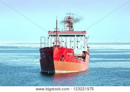 Vladivostok Russia - February 6th 2016: Vladivostok road of the port of Vladivostok anchorage of sea vessels the tanker TAGANROGA.