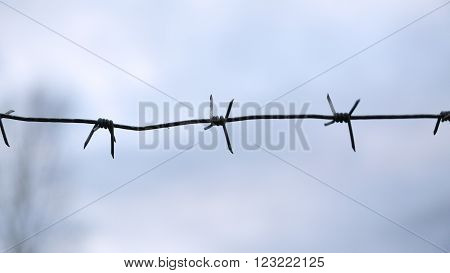 Photo of a barbed wire on an indistinct background