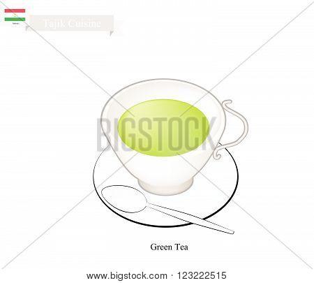 Tajik Cuisine Traditional Green Tea and Boiled Water. A Popular Beverage in Tajikistan.