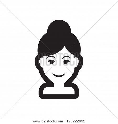 Flat icon in black and white style women's haircut