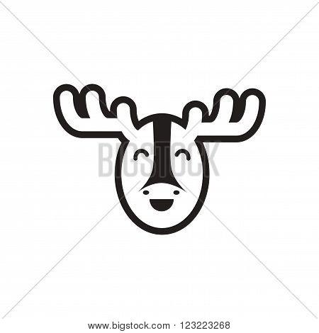 stylish black and white icon Canadian moose