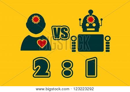Cute vintage robot and human. Robotics industry relative image. Humanity advantages